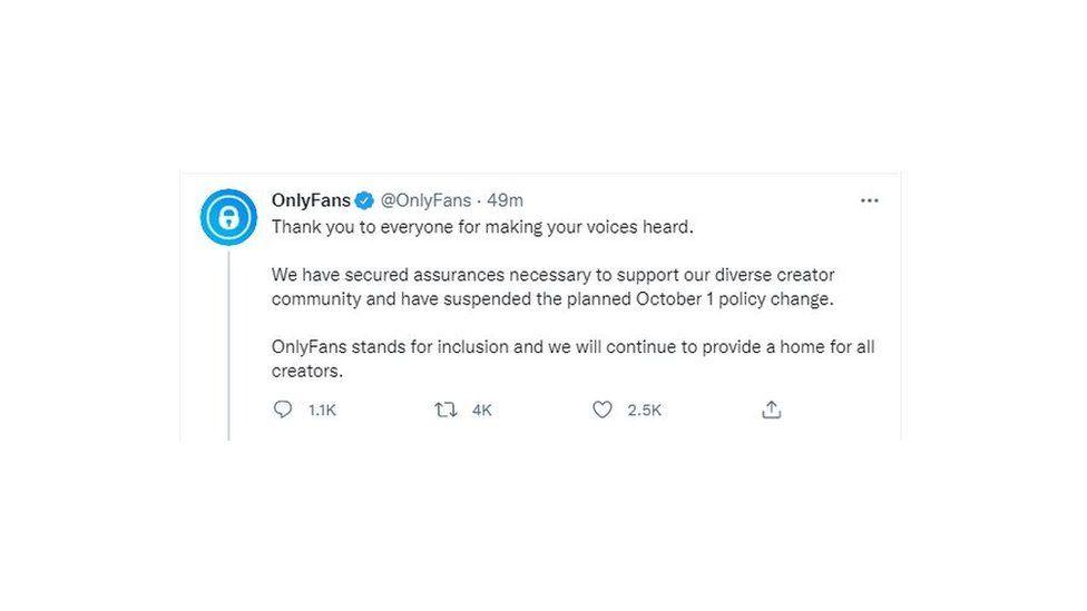 Το OnlyFans πήρε πίσω την απόφασή του ύστερα από τις έντονες αντιδράσεις
